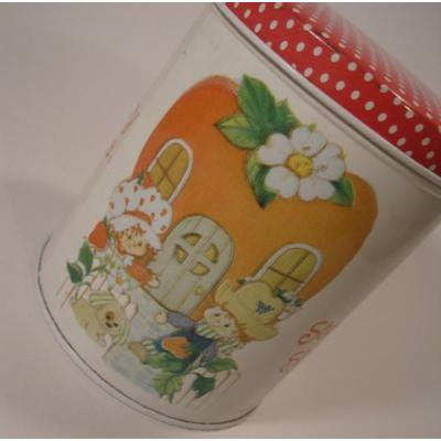 キャラクター ストロベリーショートケーキ・アップルハウス・ラウンドTIN缶
