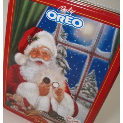 クリスマスやイースターなどの行事関連 ビンテージ・クリスマスTIN缶「1998年・スクエア・OREOとサンタ」