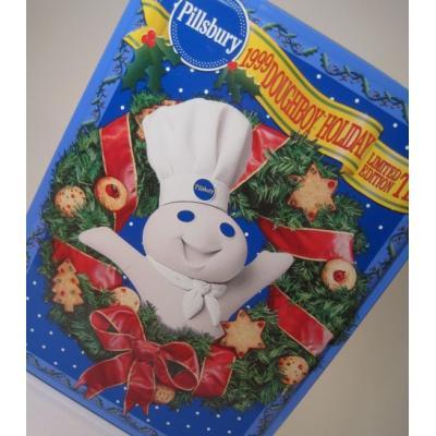 ビンテージ・クリスマスTIN缶「1999年・スクエア・Pillsbury・ドウボーイ・Happy Holidays」