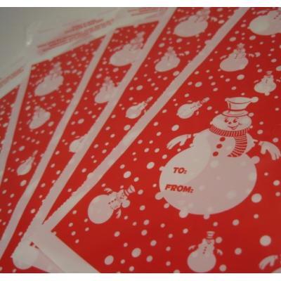 ラッピングペーパー・ギフトバッグなど 赤ベース・白い雪だるま・プレゼント用お菓子バッグ5枚セット