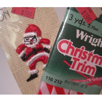 シームテープ&トリム デッドストック・未使用・未開封クリスマストリム&サンタアップリケセット