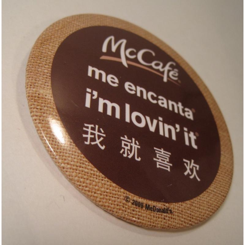 ビンテージTIN缶バッチ・マクドナルド・McCafe・インターナショナル