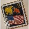 米国郵便局 米国郵便局・アメリカンフラッグと花火・22セント切手型ピンズ