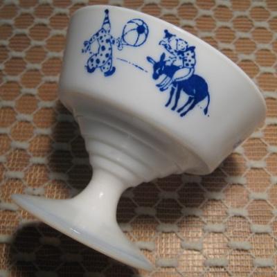 ヴィンテージ雑貨 ヘーゼルアトラス・キディウェア・サーカスピエロ・シャーベットカップ・ブルー【B】