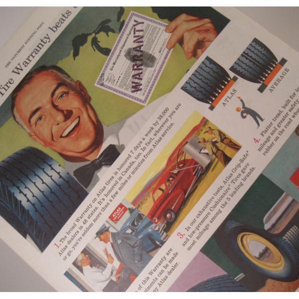 ヴィンテージ広告・アメリカ・モーター系・アトラスタイヤ・1949年