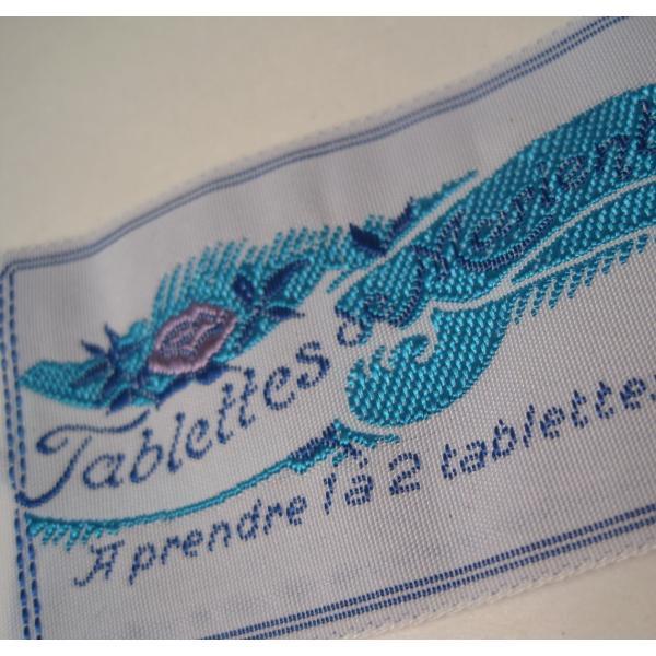ビンテージ・デッドストック・刺繍タグ・Tablettes Merienbad・ピンクのお花とブルーアクセント