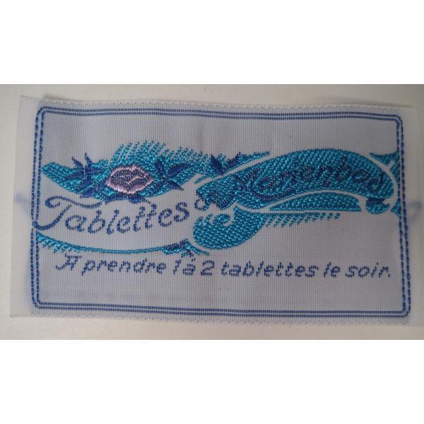 ビンテージ・デッドストック・刺繍タグ・Tablettes Merienbad・ピンクのお花とブルーアクセント【画像2】