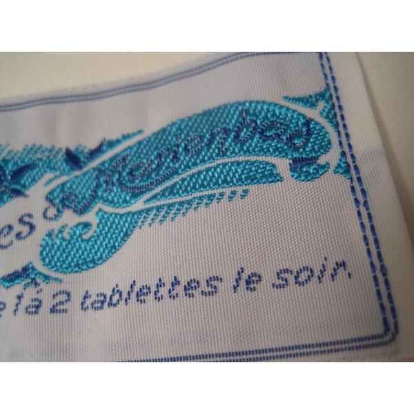 ビンテージ・デッドストック・刺繍タグ・Tablettes Merienbad・ピンクのお花とブルーアクセント【画像4】