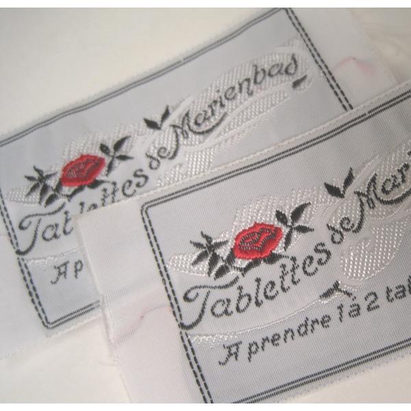 ビンテージ・デッドストック・刺繍タグ・Tablettes Merienbad・赤のお花とシルバーアクセント