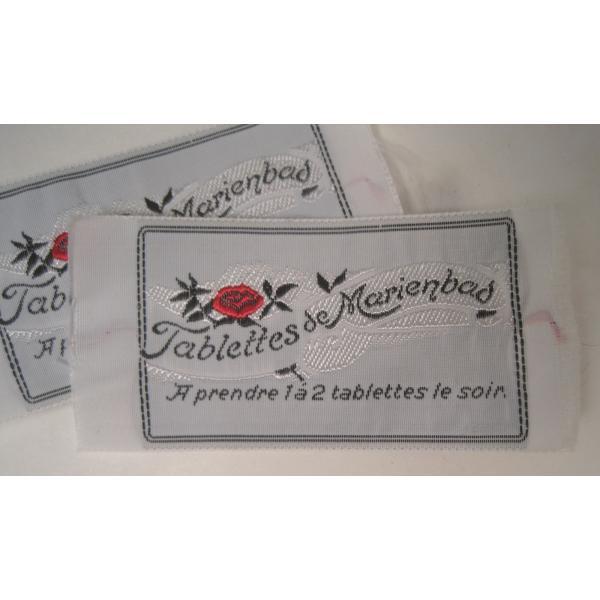 ビンテージ・デッドストック・刺繍タグ・Tablettes Merienbad・赤のお花とシルバーアクセント【画像2】