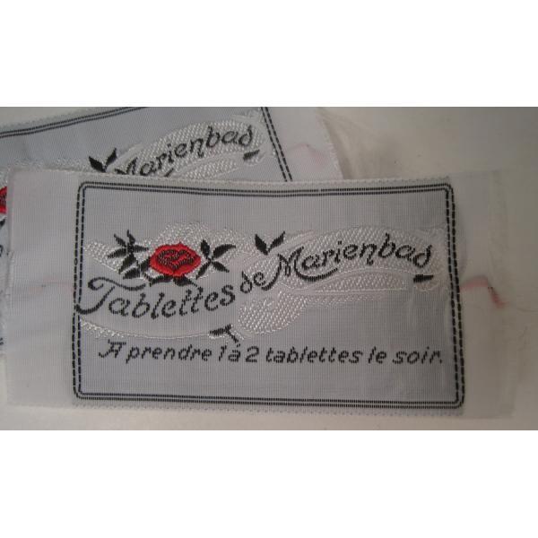 ビンテージ・デッドストック・刺繍タグ・Tablettes Merienbad・赤のお花とシルバーアクセント【画像3】