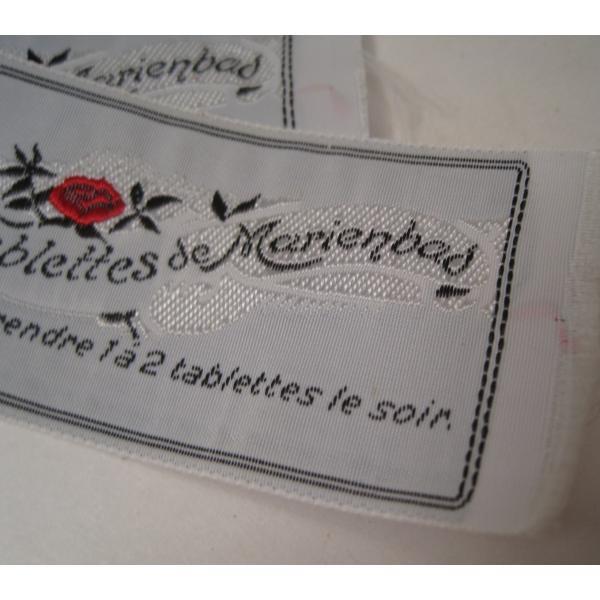 ビンテージ・デッドストック・刺繍タグ・Tablettes Merienbad・赤のお花とシルバーアクセント【画像5】