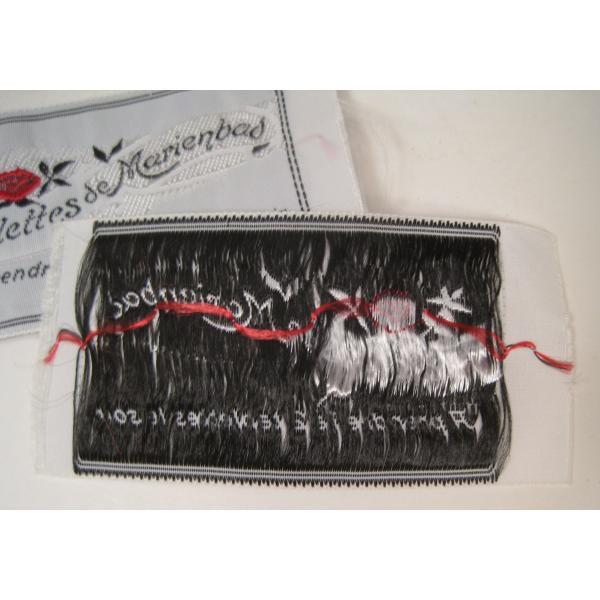 ビンテージ・デッドストック・刺繍タグ・Tablettes Merienbad・赤のお花とシルバーアクセント【画像6】