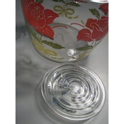 他・アメリカンキッチン&リビングアイテム アンカーホッキング・ローズ&イエローリボン・ガラス製蓋付き・ジュースサーバー