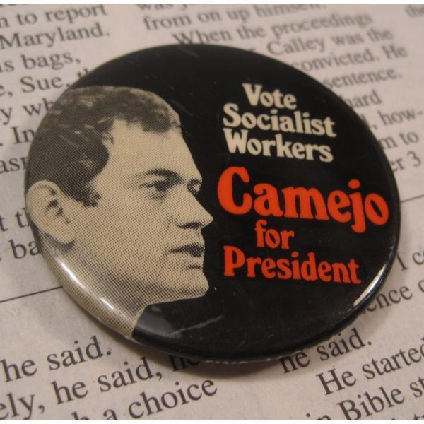 ヴィンテージ缶バッチ・Camejo for President・大統領選挙候補