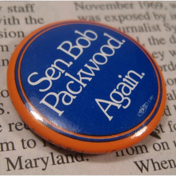 ヴィンテージ缶バッチ・Bob Packwood・選挙候補者