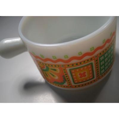 ヴィンテージ雑貨 AVON・オレンジ&イエローフラワープリント・フレンチキャセロール型・クリームコンテイナー