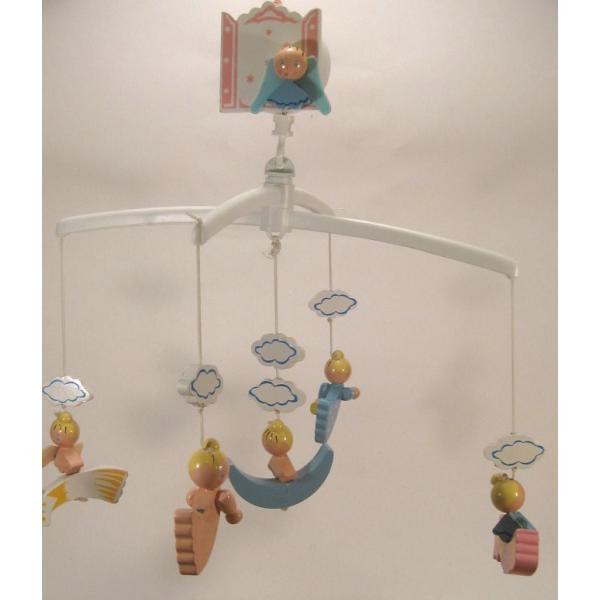 ヴィンテージ木製・天使・赤ちゃん用モビール・オルゴール付・訳あり