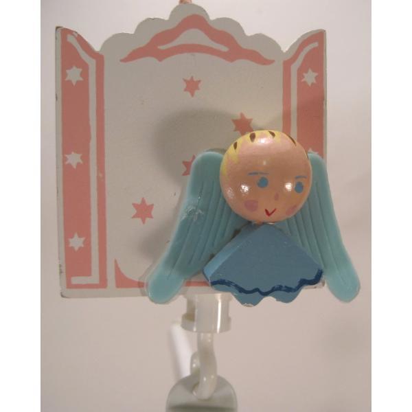 ヴィンテージ木製・天使・赤ちゃん用モビール・オルゴール付・訳あり【画像2】
