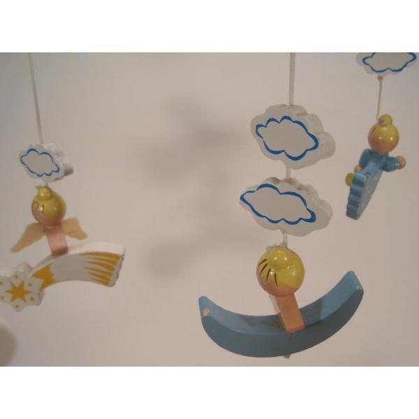 ヴィンテージ木製・天使・赤ちゃん用モビール・オルゴール付・訳あり【画像11】
