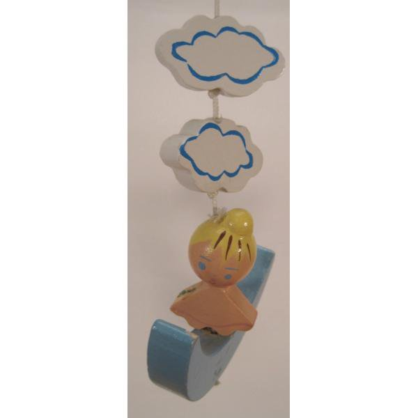 ヴィンテージ木製・天使・赤ちゃん用モビール・オルゴール付・訳あり【画像3】
