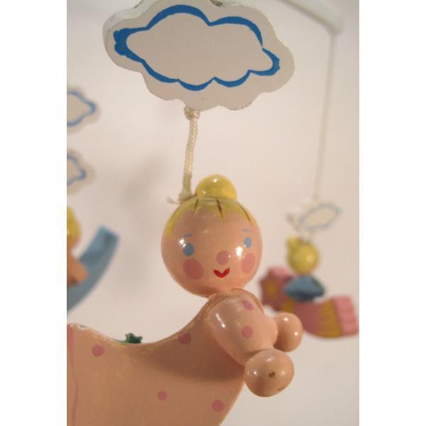 ヴィンテージ木製・天使・赤ちゃん用モビール・オルゴール付・訳あり【画像4】