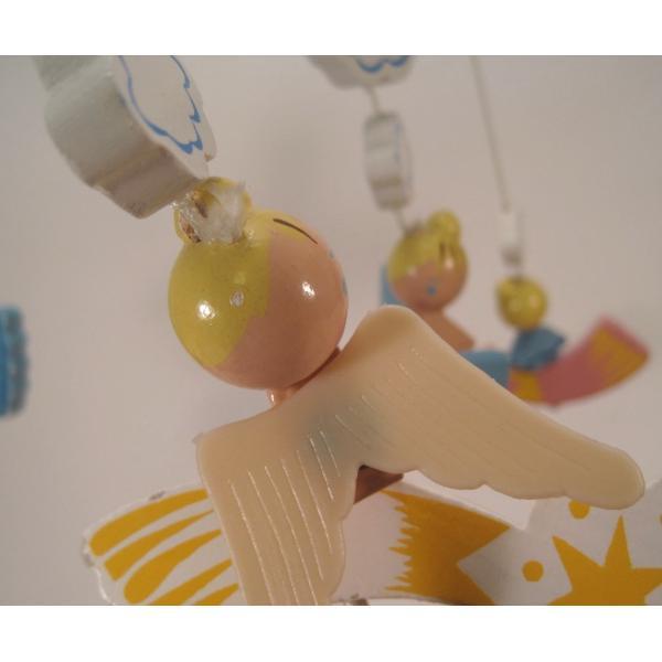 ヴィンテージ木製・天使・赤ちゃん用モビール・オルゴール付・訳あり【画像5】