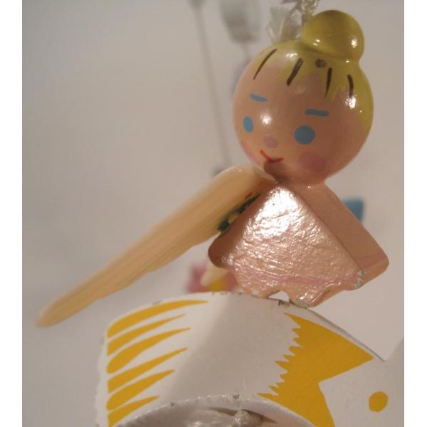 ヴィンテージ木製・天使・赤ちゃん用モビール・オルゴール付・訳あり【画像6】