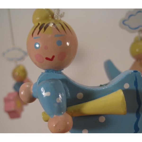 ヴィンテージ木製・天使・赤ちゃん用モビール・オルゴール付・訳あり【画像7】