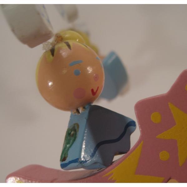 ヴィンテージ木製・天使・赤ちゃん用モビール・オルゴール付・訳あり【画像8】