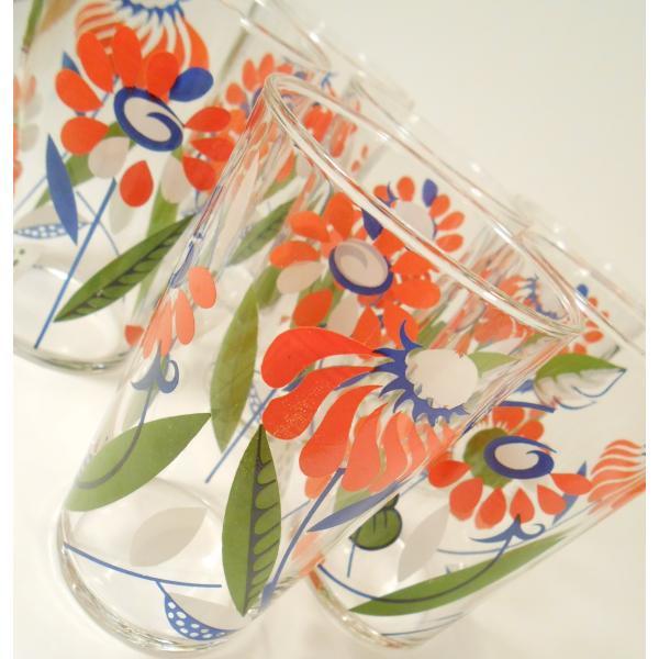 オレンジ&ブルー&ホワイト・レトロフラワーグラス