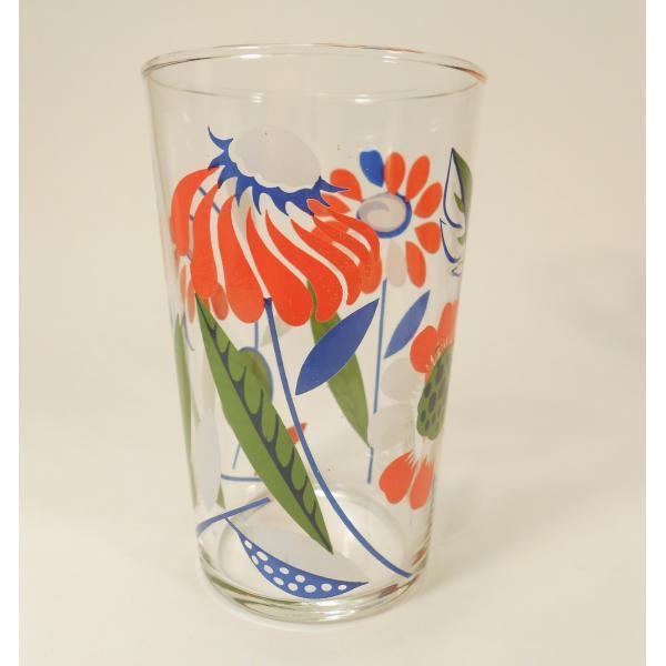 オレンジ&ブルー&ホワイト・レトロフラワーグラス【画像4】