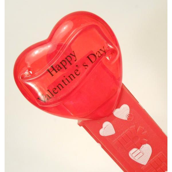 PEZ・ペッツ・バレンタインハート・Happy Valentine's Day・クリアレッドハート&赤ベース白ハートステム・中国製