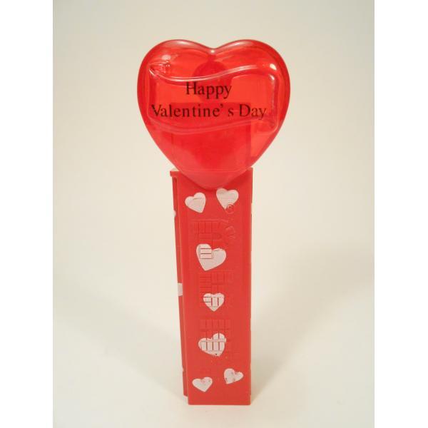 PEZ・ペッツ・バレンタインハート・Happy Valentine's Day・クリアレッドハート&赤ベース白ハートステム・中国製【画像2】