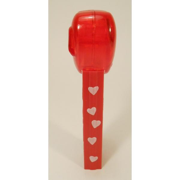 PEZ・ペッツ・バレンタインハート・Happy Valentine's Day・クリアレッドハート&赤ベース白ハートステム・中国製【画像3】
