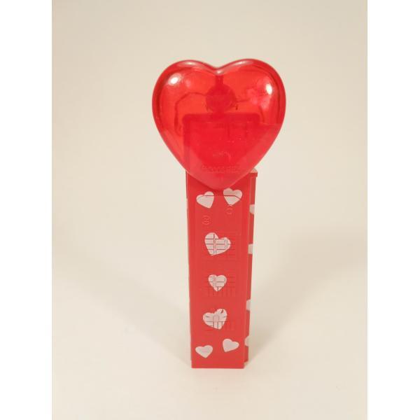 PEZ・ペッツ・バレンタインハート・Happy Valentine's Day・クリアレッドハート&赤ベース白ハートステム・中国製【画像4】