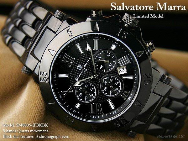 送料無料☆雑誌掲載!大人気モデル【Salvatore Marra】クロノ腕時計IP(SM8005-IPBKBK)