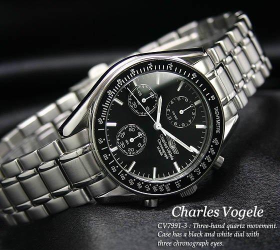 【Charles Vogele】シャルルホーゲル 1/10秒クロノグラフSVBK 新品(CV-7991-3)
