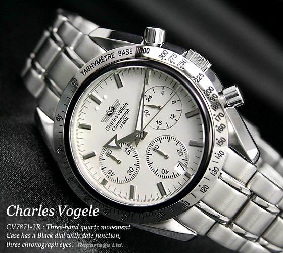 レアモデル【Charles Vogele】10気圧防水クロノグラフWH 新品(CV7871-2R)