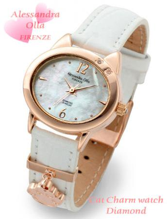 【Alessandra Olla】猫モチーフチャーム付腕時計 本革ベルトホワイト(AO-2220PKG/WH)