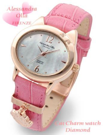 【Alessandra Olla】猫モチーフチャーム付腕時計 本革ベルトピンク(AO-2220PKG/RPK)