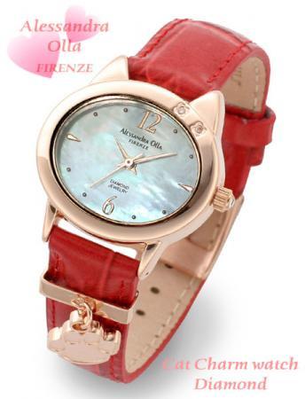※メーカー取寄せ【Alessandra Olla】猫モチーフチャーム付腕時計 本革ベルトレッド(AO-2220PKG/RED)
