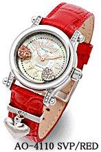 ※メーカー取寄せ【Alessandra Olla】4年電池チャーム付本革ベルト時計(AO-4110-2-RED)