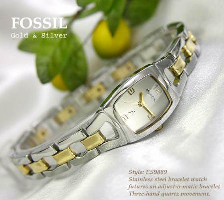FOSSIL トノー型ゴールド&シルバー レディス腕時計
