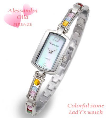 激安【Alessandra Olla】カラフルストーン ブレスレット腕時計 (AO-2800-3)