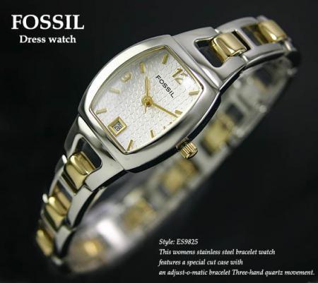 FOSSIL トノー型ゴールド&シルバー レディス腕時計(ES9825)