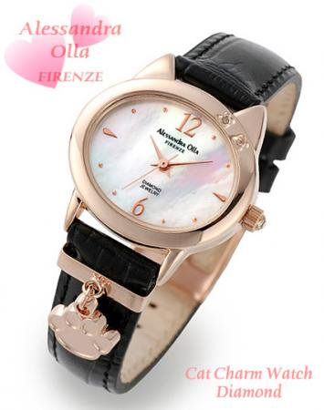 【Alessandra Olla】猫モチーフチャーム付腕時計 本革ベルトブラック(AO-2220PKG/BK)