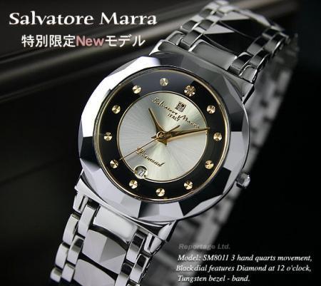 レアモデル!【Salvatore Marra】超硬タングステン&天然ダイヤ メンズ腕時計(SM8011-BKGD)