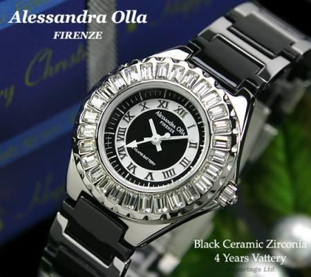 激安【Alessandra Olla】ラインストーン&セラミック腕時計 (AO-17000-3)