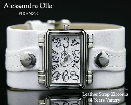 激安 限定モデル【Alessandra Olla】革ベルト時計WH(AO-40-WH)